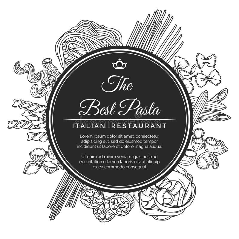 Hand drawn italian pasta restaurant poster royalty free illustration