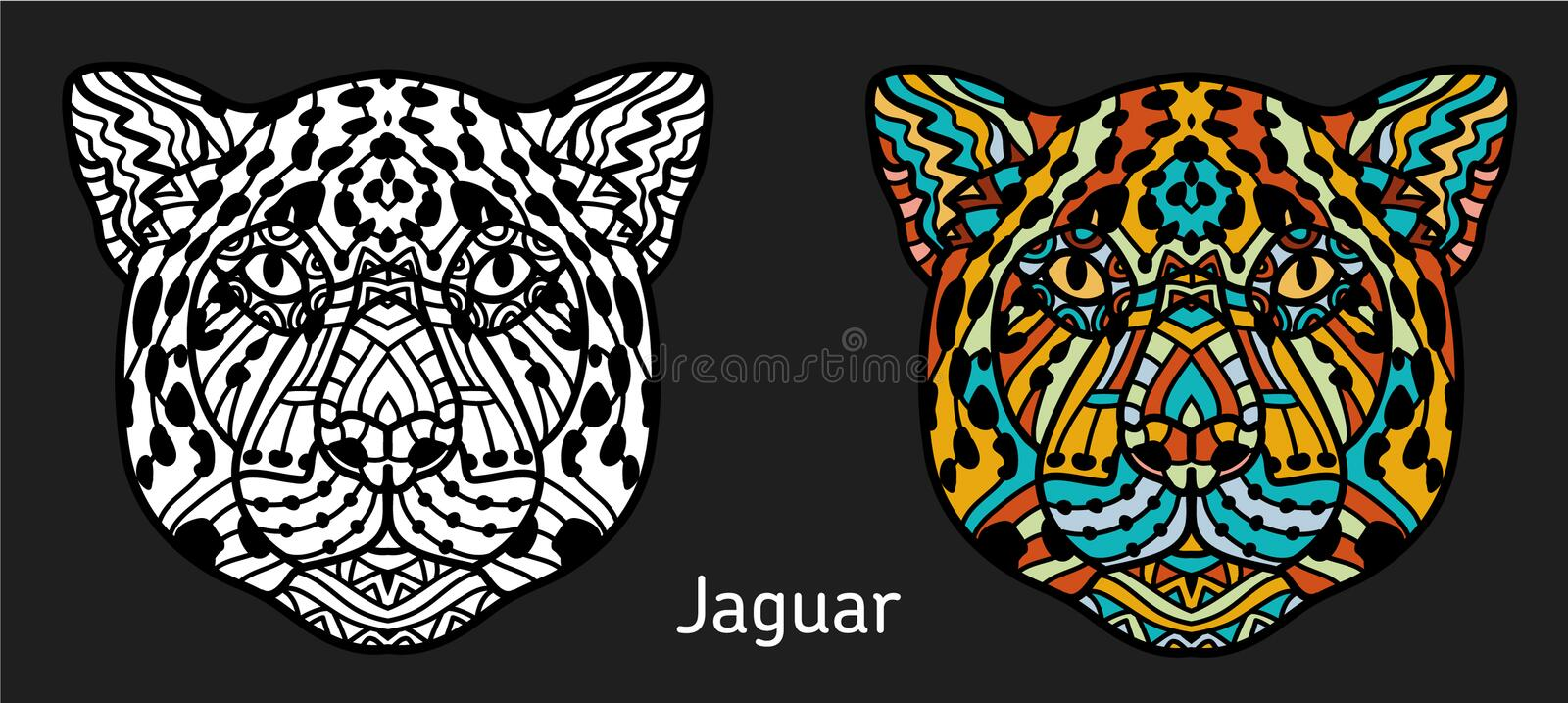 Hand-drawn Jaguar with ethnic doodle pattern. Coloring page - zendala, design for spiritual relaxation for adults vector illustration