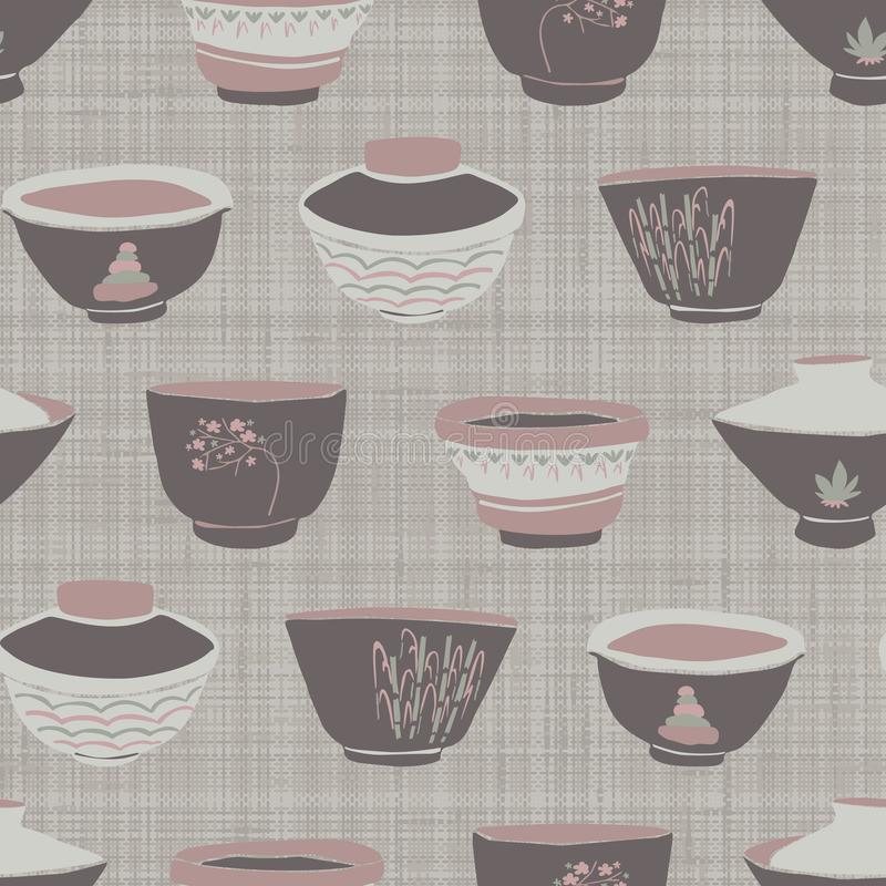 Hand drawn japanese tea bowl seamless pattern. Set of drink bowls in soft ecru off white neutral tone. All over grey linen print. Asian home decor, menu stock illustration