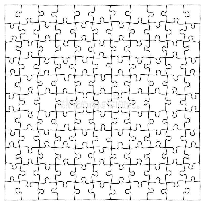 Hand drawn jigsaw puzzle pieces, 121 separate pieces that can be extracted stock illustration