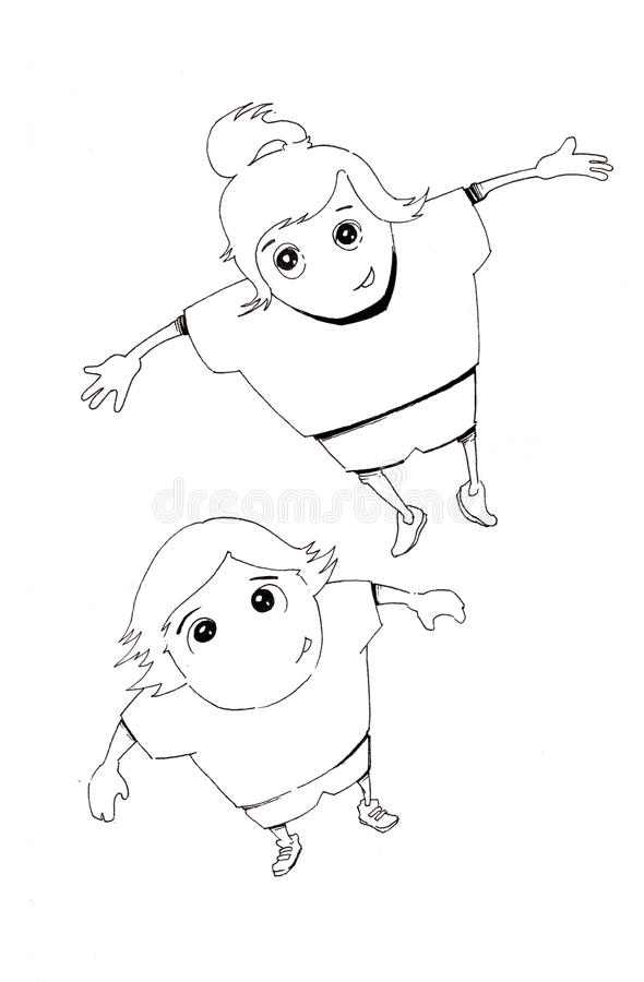 Download Hand Drawn Joyful Boy And Girl Jumping Stock Illustration - Image: 21040371