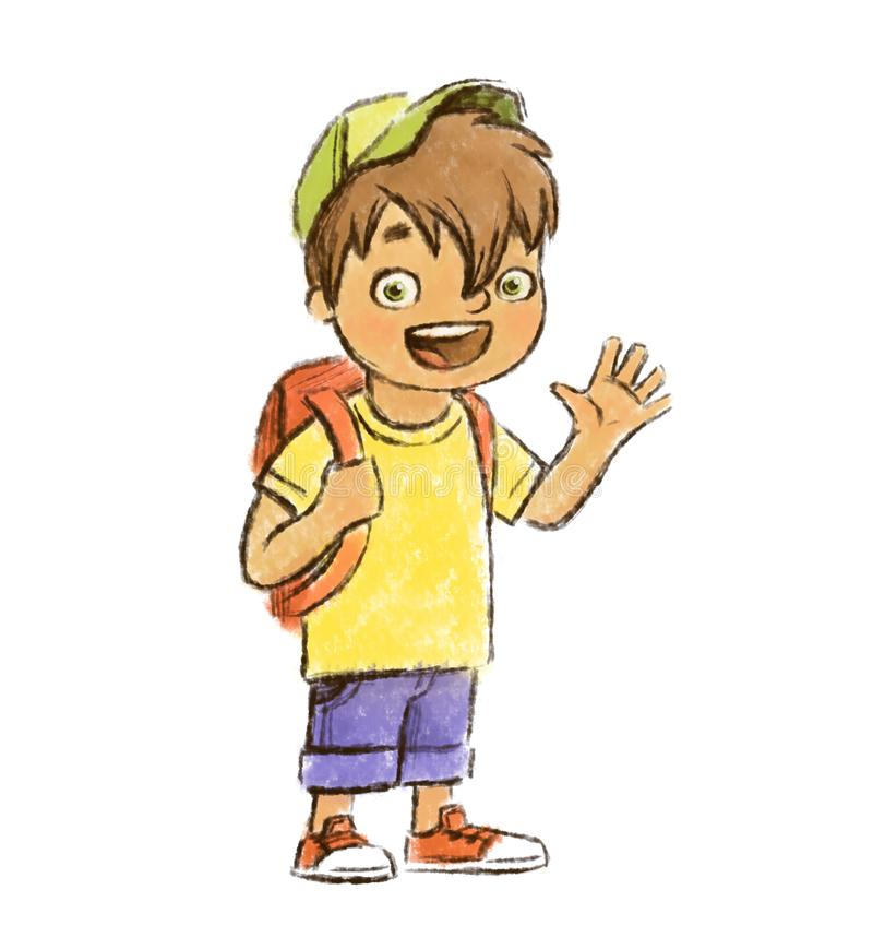 Hand drawn joyful good cartoon young boy waving hand isolated on the white background. Happy smiling child, best friend, younger brother, watercolor cartoon stock illustration