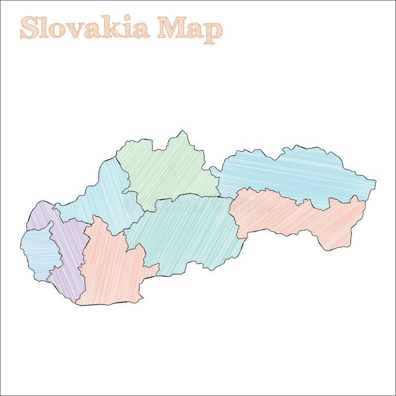 Hand-drawn kaart van Slowakije stock illustratie