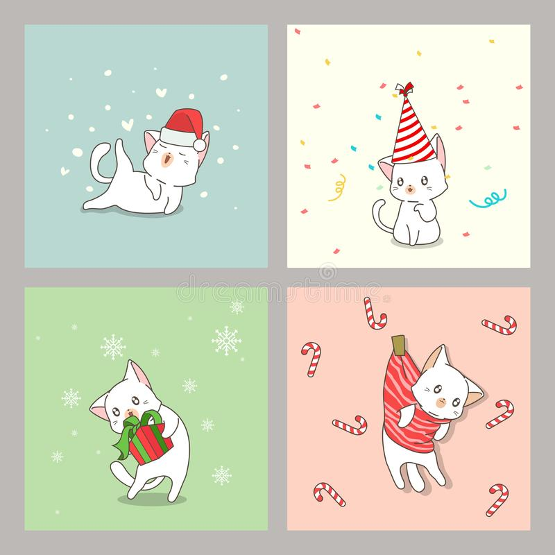 Hand drawn kawaii cat cards in Christmas day. In cartoon style vector illustration