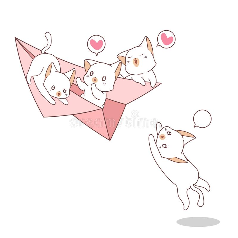 Hand drawn kawaii cats on the paper plane stock illustration
