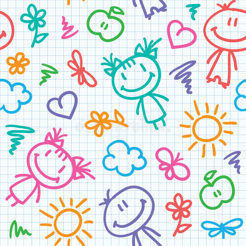 Hand drawn kid pattern royalty free illustration