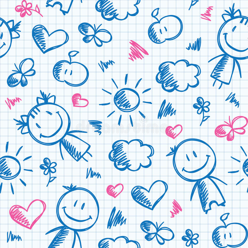 Hand drawn kid pattern stock illustration
