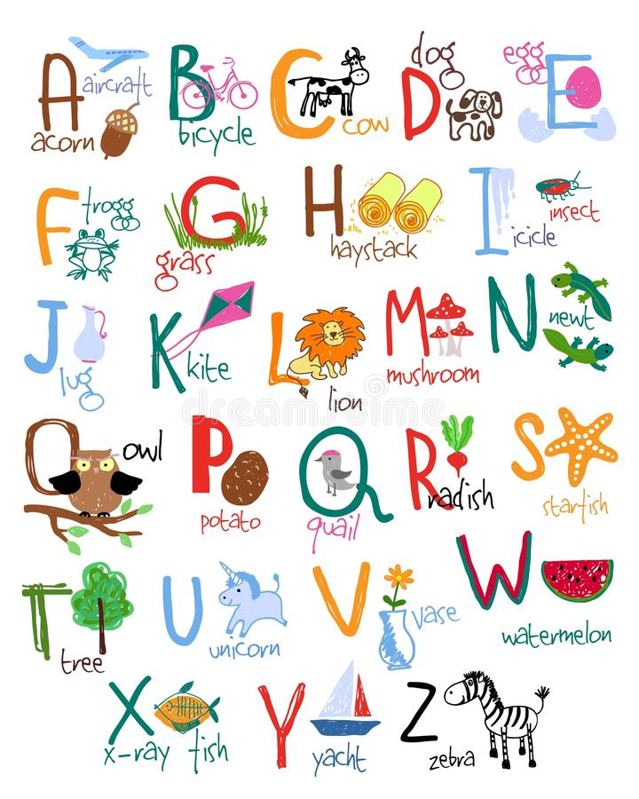 hand drawn kids alphabet stock vector  illustration of