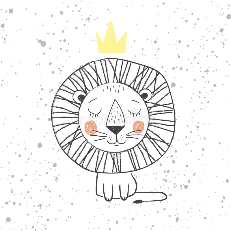 Hand drawn king lion for kids T-shirt design, greeting card with blur background, cute childish king of the jungle - royalty free illustration