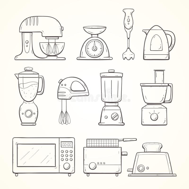 Hand drawn kitchen appliances set vector illustration
