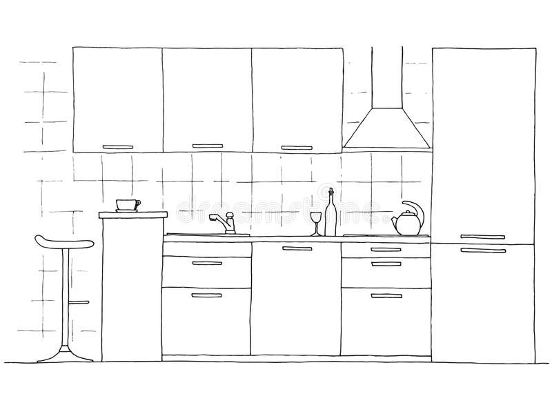 Hand drawn kitchen furniture. Vector illustration in sketch style stock illustration