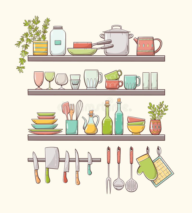 Kitchen Wall Clip Art: Hand Drawn Color Set Of Isolated Kitchen Accessories Stock