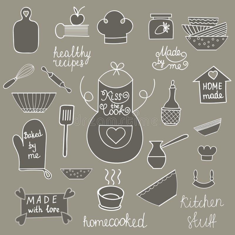 Hand drawn kitchen tools set Kitchen utensils Kitchen equipment collection Kitchen doodles Rustic kitchen vector illustration