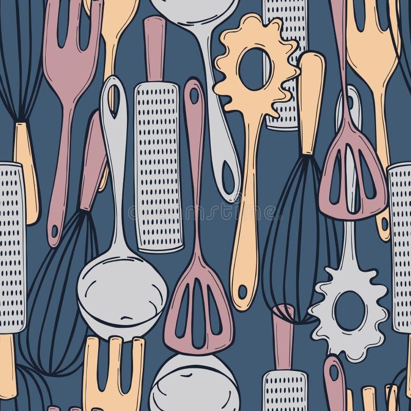 Hand drawn kitchen tools.  Vector  seamless pattern stock illustration