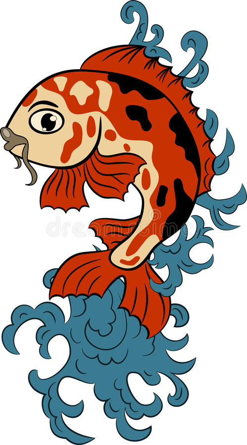 Hand-drawn koi (carp fish) royalty free stock image