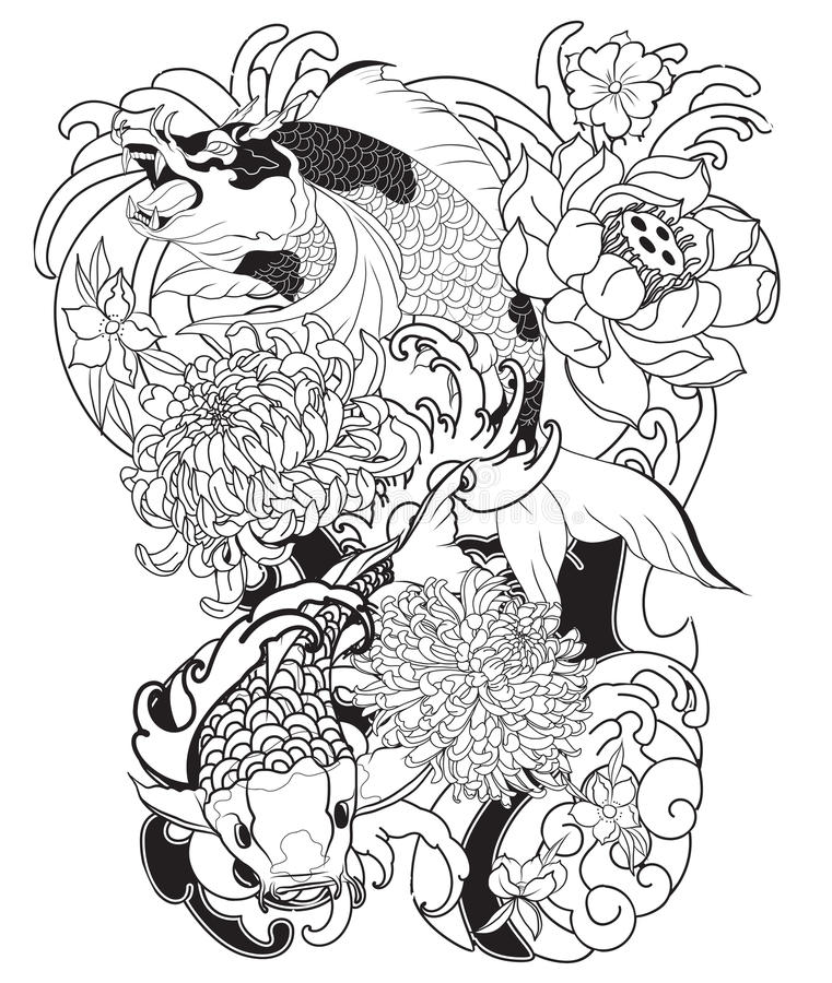 Japanese Tattoo Line Drawing : Japanese koi fish with peony flower and wave tattoo