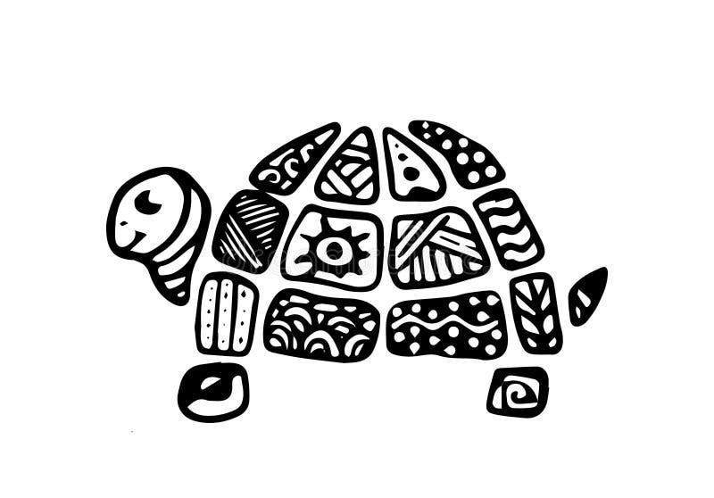 Hand-drawn Krabbel van een schildpadpatroon op shell, zentangle stijl Jonge geitjesstijl stock illustratie