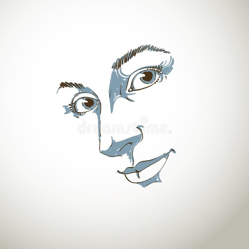 Hand-drawn kunstportret van wit-huid romantische vrouw, gezichtsemoti stock illustratie