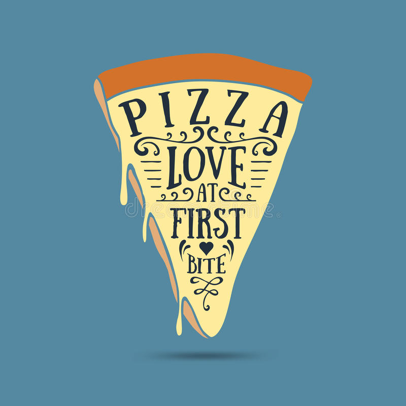 Hand drawn label with textured pizza slice vector illustration. And `Pizza. Love at first bite` lettering royalty free illustration