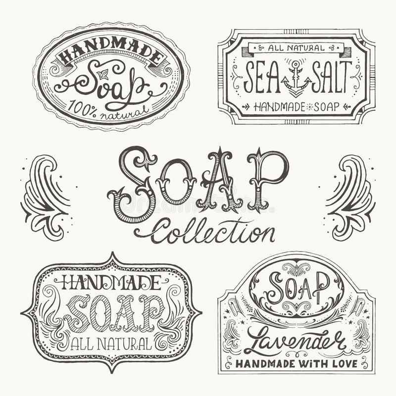 Hand drawn labels and patterns for handmade soap bars. royalty free illustration
