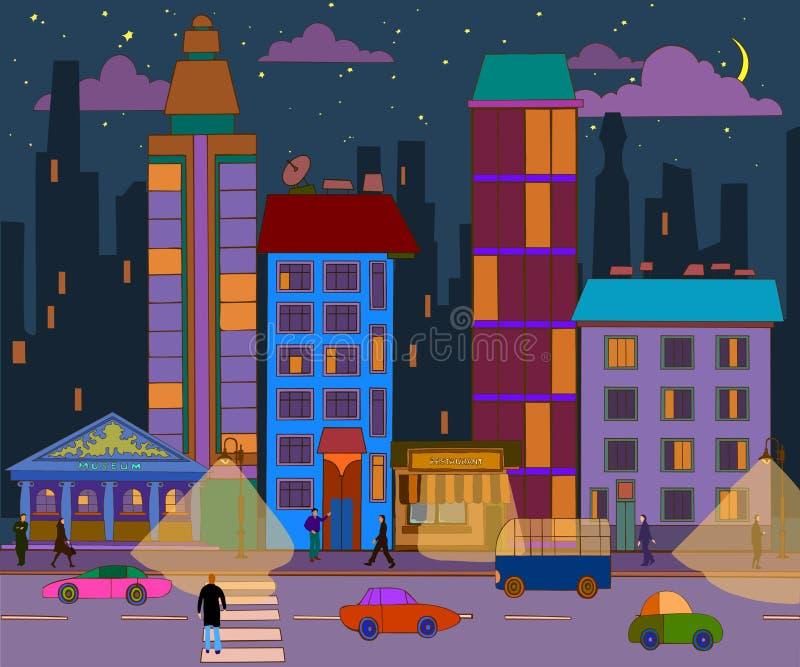 Hand-drawn landschap van de avondstad Vector illustratie royalty-vrije illustratie