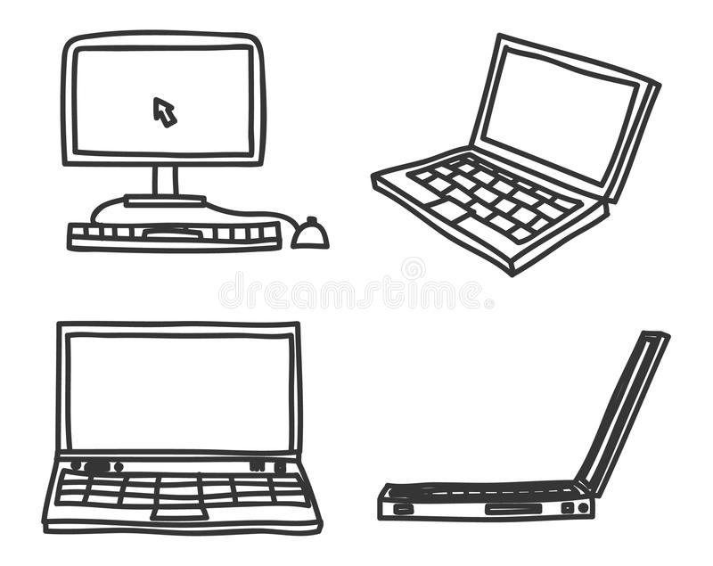 Hand drawn laptop and desktop computer art vector icon set. Illustration royalty free illustration