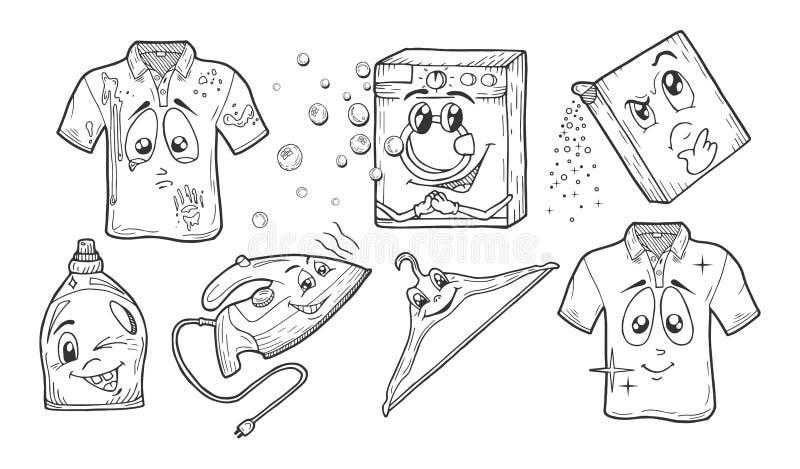 Hand drawn laundry set. Vector illustration of a cartoon doodle style hand drawn laundry set. Dirty t-shirt, washing machine, powder, gel, stain remover royalty free illustration