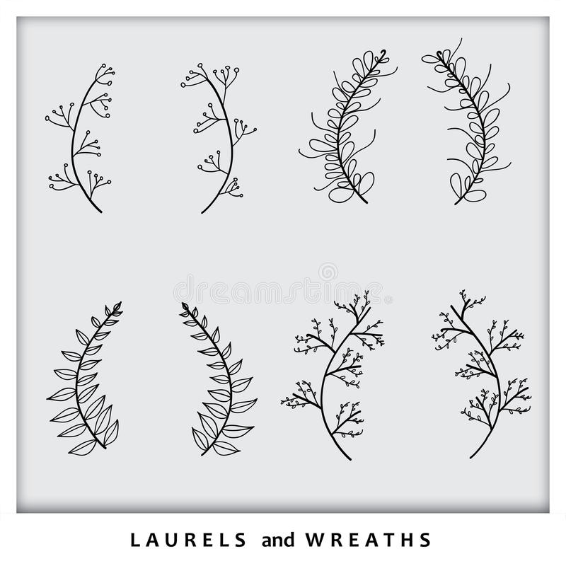 Hand drawn laurel wreath icons collection set vector graphic royalty free illustration