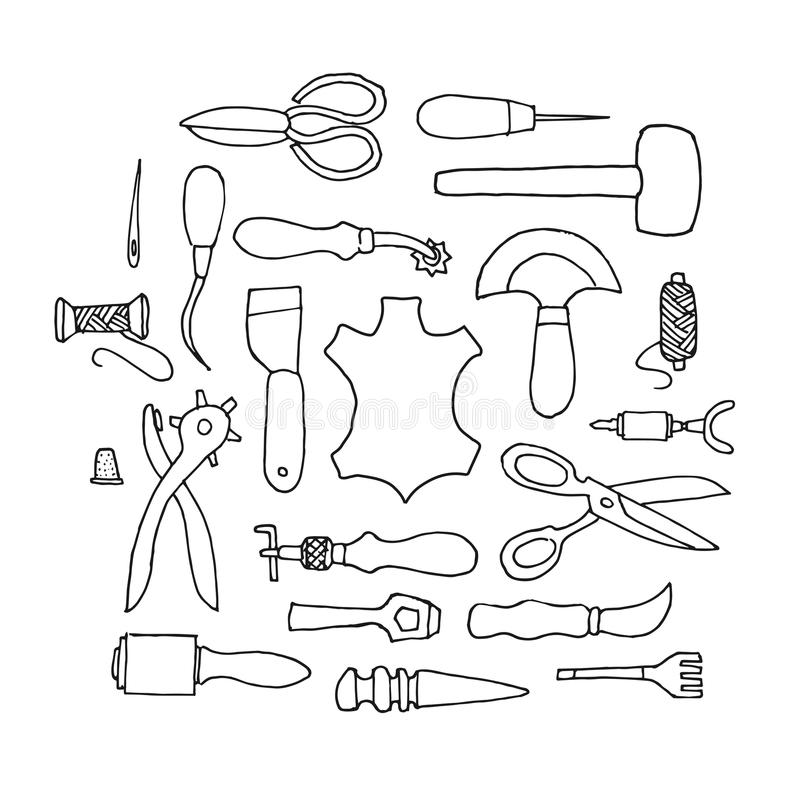 Hand drawn Leather working tools vector royalty free illustration