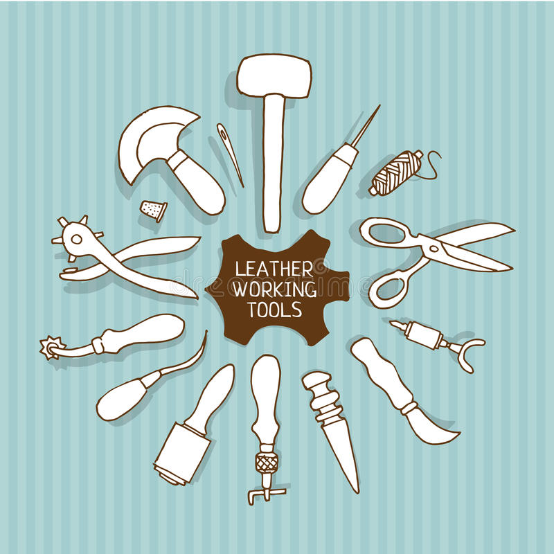 Hand drawn Leather working tools vector stock illustration