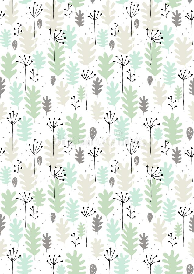 Hand Drawn Leaves and Twigs Vector Pattern. Grey, Black and Mint Green Design, White Background. Seamless Graphic. Green, grey and beige abstract leaves with stock illustration