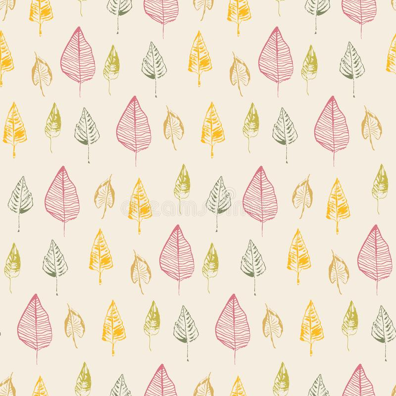 Hand drawn leaves. Vector seamless pattern. Doodle stylized image. Autumn leaf fall background. vector illustration