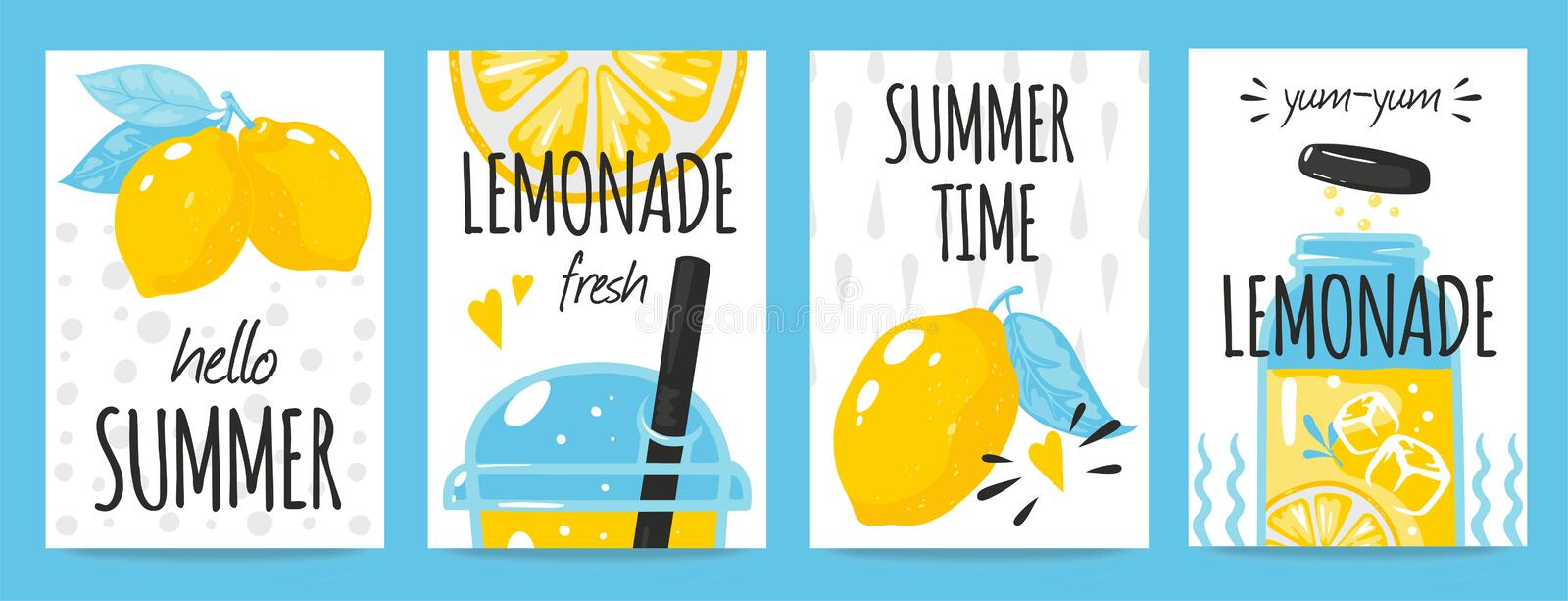 Hand drawn lemon posters. Quote typography and summer lemonade drink vintage cards, Vector fresh lemons doodle royalty free illustration