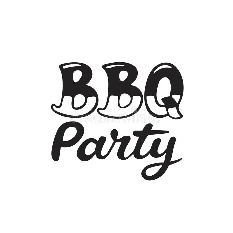 BBQ and grill lettering. Hand drawn lettering about BBQ and grill isolated on white background. Vector illustration. Barbecue time decorative text for poster royalty free illustration