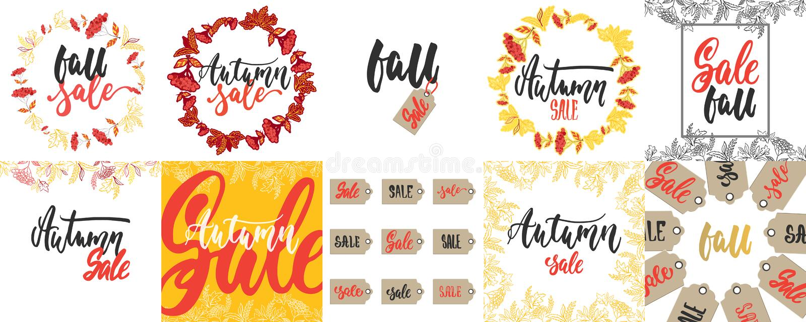 Hand drawn lettering cards for Autumn Sale about collections isolated on the white background. Fun brush ink vector vector illustration