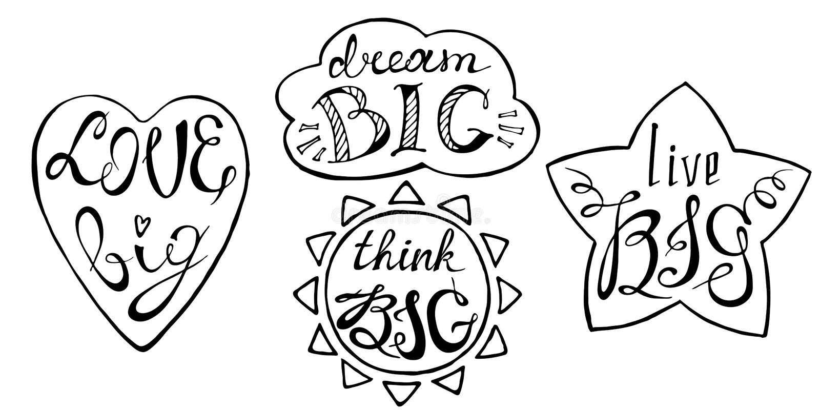 Hand drawn lettering design. Motivational phrases concept. Set with hand drawn inspirational quotes. Conceptual lettering, calligraphy on white background stock illustration