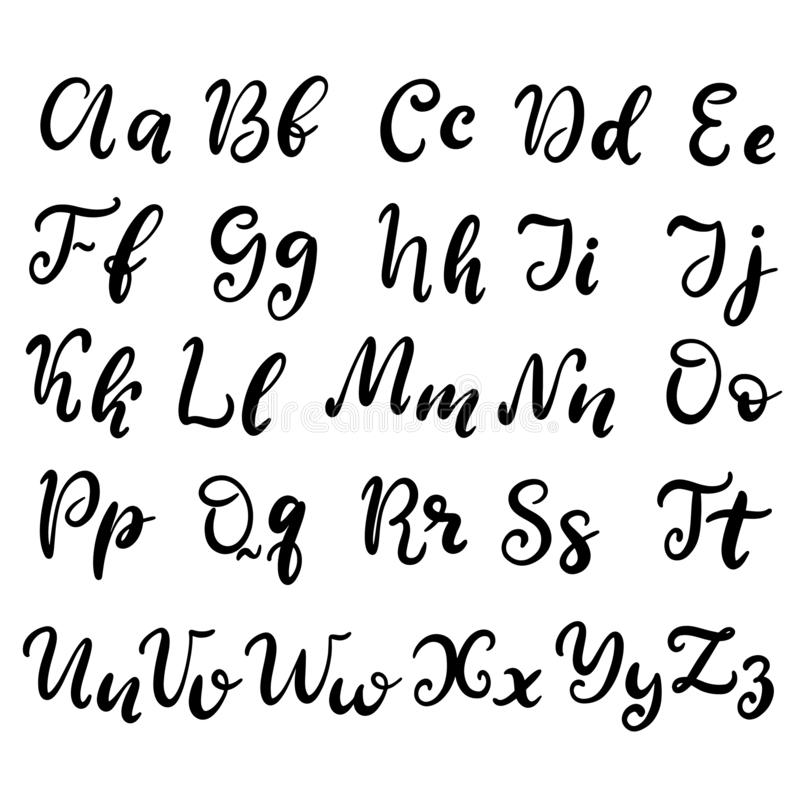 Hand drawn lettering font, alphabet royalty free illustration