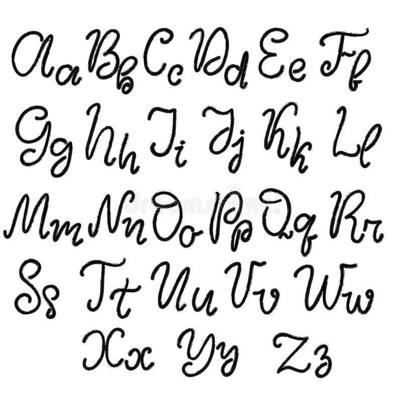 Hand drawn lettering font, alphabet royalty free illustration