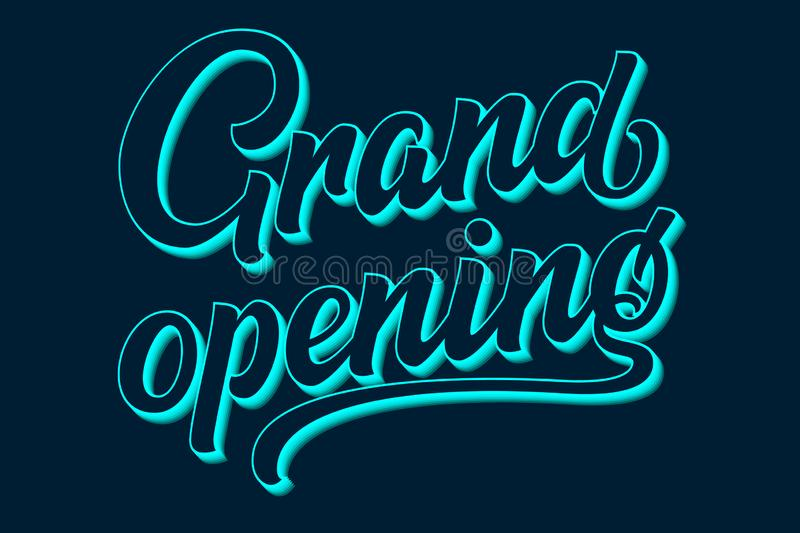 Hand drawn lettering Grand Opening. Elegant isolated modern calligraphy with shadow. Vector Ink illustration for stock illustration