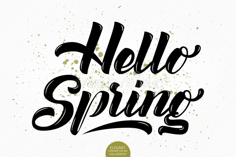 Download Hand Drawn Lettering Hello Spring Elegant Modern Handwritten Calligraphy Vector Ink Illustration