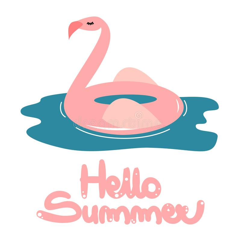 Cute hand drawn lettering hello summer vector card with cartoon pink flamingo float stock illustration