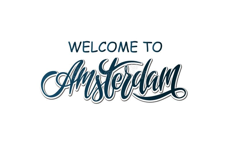 Hand drawn calligraphy label with word Amsterdam vector illustration