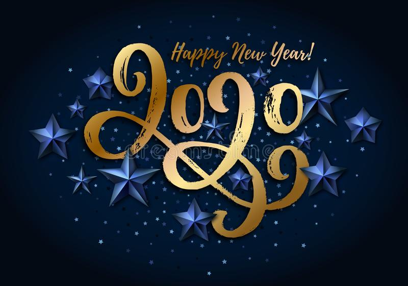 2020 hand drawn lettering, New Year card design vector illustration