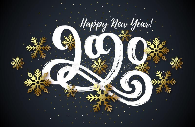 2020 hand drawn lettering, New Year card vector illustration