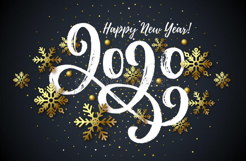 2020 hand drawn lettering, New Year card royalty free illustration