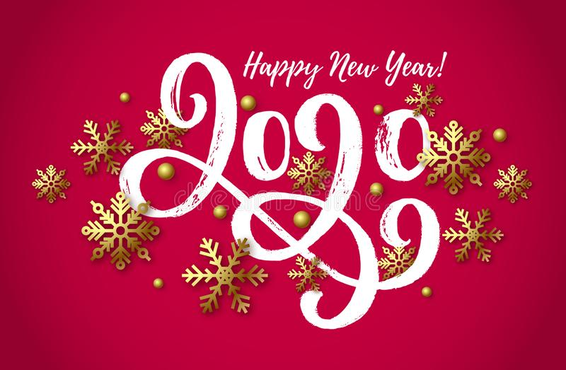 2020 hand drawn lettering, New Year card stock illustration