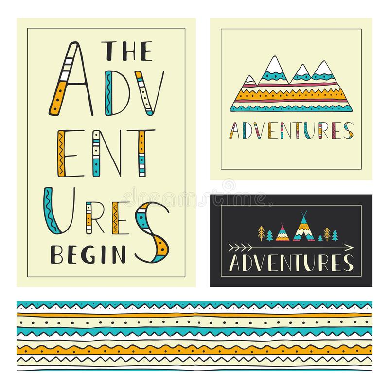 Set of stylish outdoor cards template. The adventures begin vector illustration