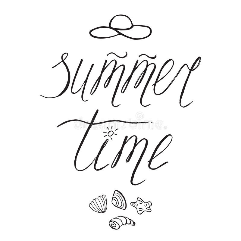 Hand drawn lettering phrase Summer time, seashells, hat. Doodle sketch style. royalty free illustration