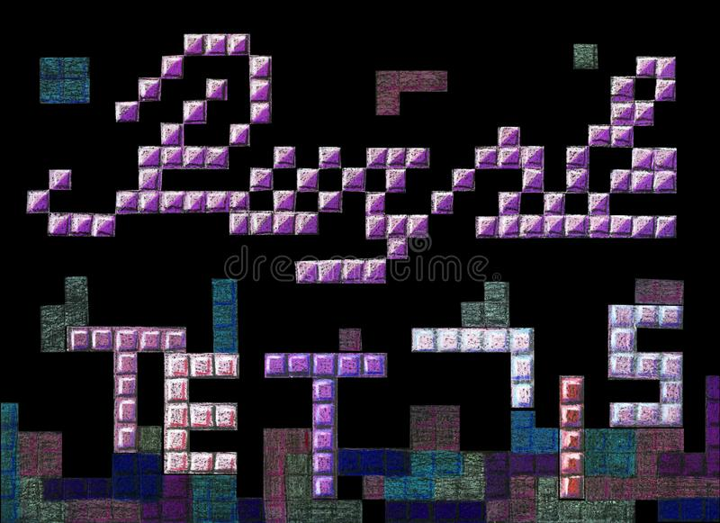 Hand drawn lettering poster with pixel purple tetris royalty free illustration