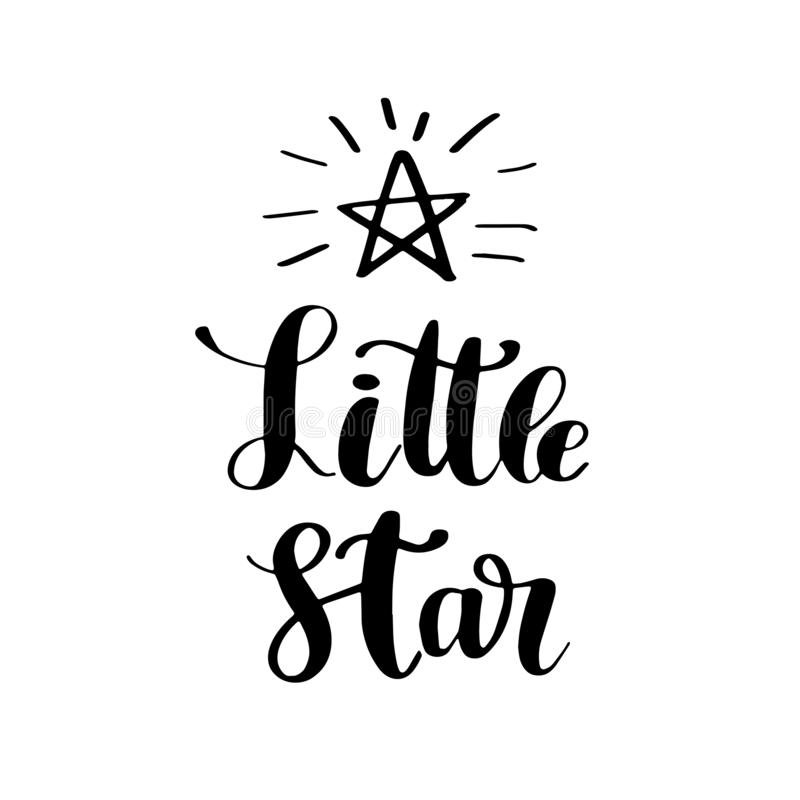 Hand drawn lettering quote Little star stock illustration